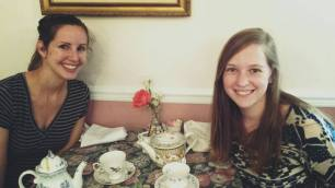 Anna Matthews and Rachel Routh at the Afton Tea Room